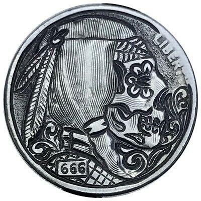 Hobo Nickel Carved Coin Art Sugar Skull
