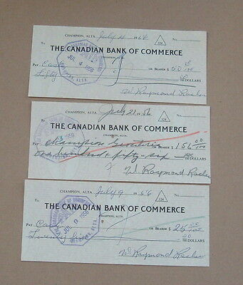 Checks Cheques The Canadian Bank of Commerce -1956 Proof Teller Stamp Lot of 3