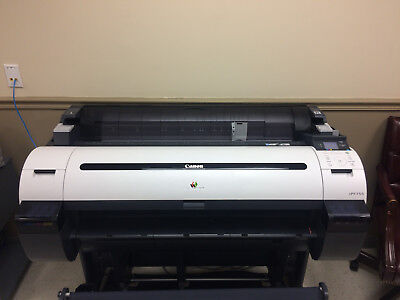"""Canon Wide Format iPF-755 36"""" Color Printer With Stand Used Works No Error Codes"""