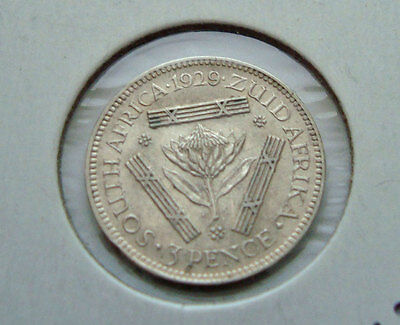 SOUTH AFRICA 1929 .800 Silver 3 Pence AU