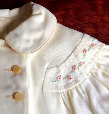 Vtg 1950s baby toddler swing dress coat jacket embroidered yellow doll girl MINT