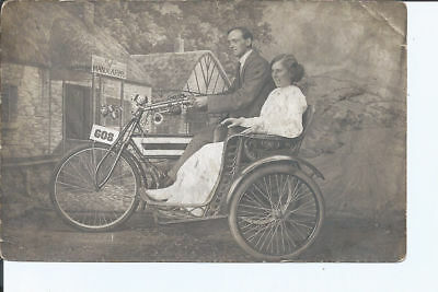 Original vtg Isle of Man RPpc Motor Tricycle photographer Hugh Mackay