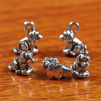 10 Pieces 10mm 3D Papillon Dog Charms Tibetan Silver DIY Jewelry Findings 7240f