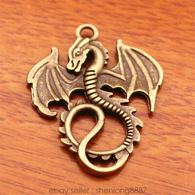 2 Piece 35mm Retro Bronze Chinese dragon Charms Tibetan Silver DIY Jewelry 7144f