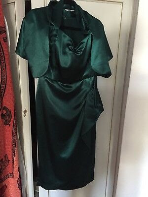 Vivien Of Holloway Pencil Dress Bolero Jacket Sateen Emerald Green Discontinued