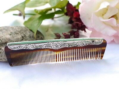 Vintage Sterling Silver Topped Comb Fully Hallmarked For Birmingham