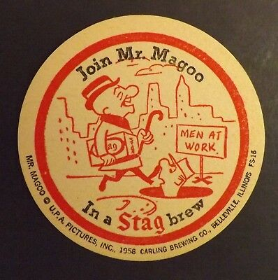 Vintage Stag Mr. Magoo #4 Beer Coaster - Belleville,St. Louis - No Reserve!