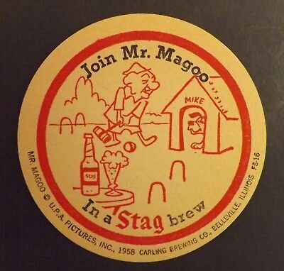Vintage Stag Mr. Magoo #6 Beer Coaster - Belleville,St. Louis - No Reserve!