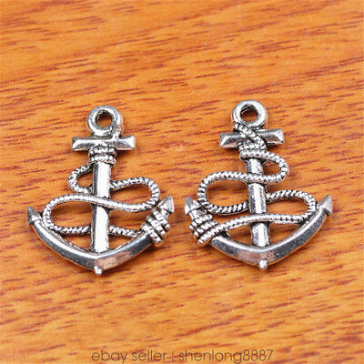 10 Piece 24*19mm Anchor Charms Bail Tibetan Silver DIY Jewelry Connector 7193f