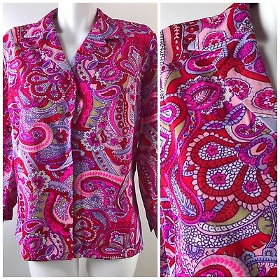 Vtg 70's Pink Paisely Polyester Womens' Blouse Top Button Down Neon Hippie Graff