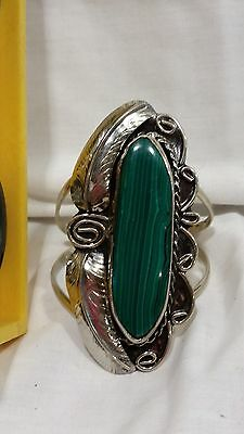 Mexican Alpaca Silver - Big Cuff Bracelet - long Malachite stone-