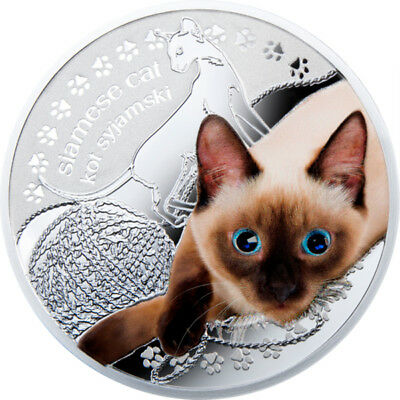 Niue 2014 1$ Mans Best Friends Cats - Siamese Proof Silver Coin with Swarovski
