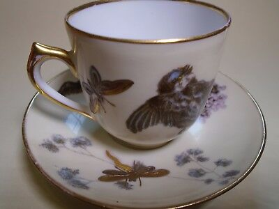 Antique Pirkenhammer Cup And Saucer Hand Painted Birds, Blossoms, Bugs