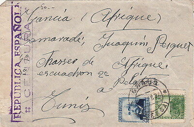 Lettre Guerre Civil Censure CaD Graus pour la Tunisie 1937 Spain Cover