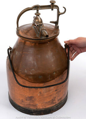 Antique COPPER & BRASS MILK CHURN Pasteurizer Tank COAL SCUTTLE Vintage Sweden