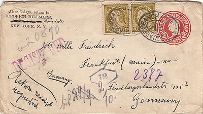 United-state Cover Entier Postal Squared Branch  Registered Germany Brief