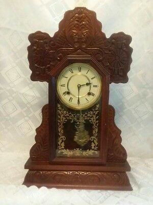 Antique Hand Wooden Carved Clock With Strikes