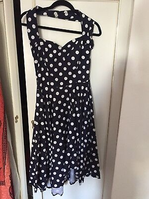 Vivien Of Holloway Polka Dot Circle Dress Navy White Cotton Discontinued 16-18UK