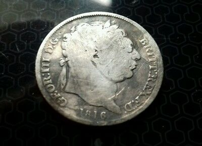 Antique 1816 George 111 silver shilling