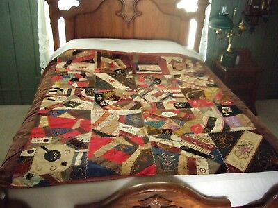 Vintage Crazy Quilt Initialed and Dated 1886