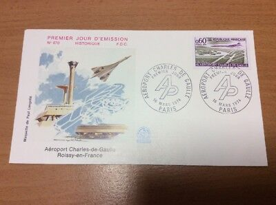1974 Concorde French Charles De Gaulle Airport First Day Cover