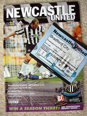 NEWCASTLE UNITED v BRADFORD CITY 2000-01 LEAGUE CUP PROGRAMME & TICKET