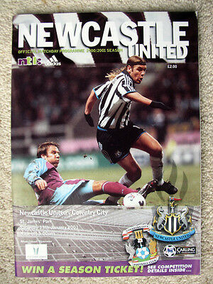 NEWCASTLE UNITED v COVENTRY CITY 2000-01 PREMIERSHIP MATCH PROGRAMME
