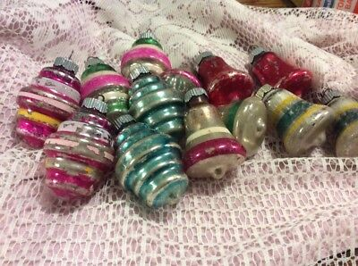 Lot of 13 Vintage Shiny Brite Christmas Ornaments Bells Lanterns with Stripes