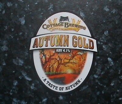 Cottage Autumn Gold Beer Pump Clip Sign