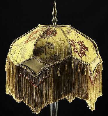 Victorian lamp shade heavy embroidered fabric w gold silk rust victorian lamp shade heavy embroidered fabric w gold silk rust beading fringe aloadofball Images