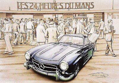 Lithographie Lithography Affiche Poster Bruere Mercedes Benz 300Sl ★1955★