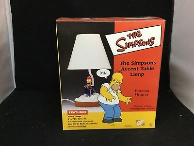 "The SimpsonsFeaturing Homer "" Mr. Plow "" Accent Table Lamp Model SIMP20 RARE2002"