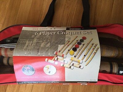 Sportcraft 6 Player Croquet Set w/ Carrying Case with instructions *BRAND NEW*