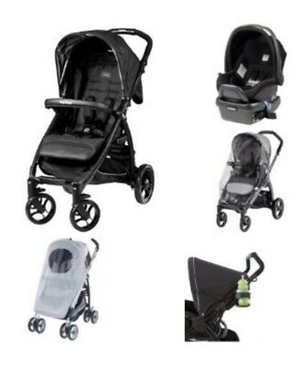 Peg Perego NEW Booklet Travel System Onyx Infant Car Seat Stroller *5 Pieces*