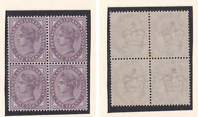 Lot:23551  GB QV  SG172 1d Lilac block of 4 unmounted