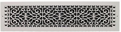 HVAC Polymer Resin Decorative Cold Air Return Grille 6x30in. Wall Mount White