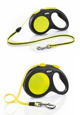 Flexi Retractable Reflective Dog Lead Cord Tape Neon Extendable All Sizes