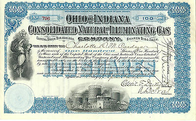 1900, Ohio & Indiana Consolidated Natural & Illuminating Gas Stock Certificate