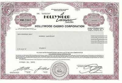 TEXAS 1999, Hollywood Casino Corp Stock Certificate