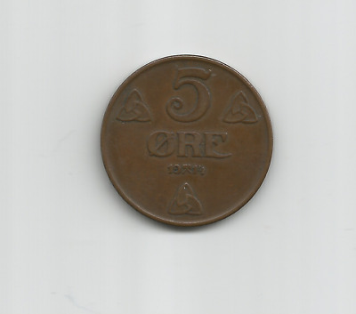Norway, 5 ore coin, 1914