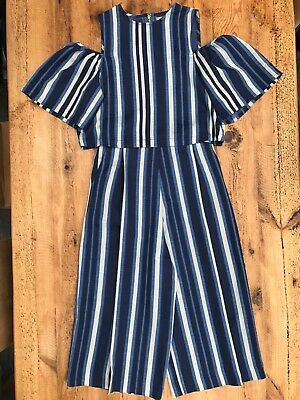Unique and Elegant Palazzo 2 Piece Stripped Suit with Cold Shoulder Size 10