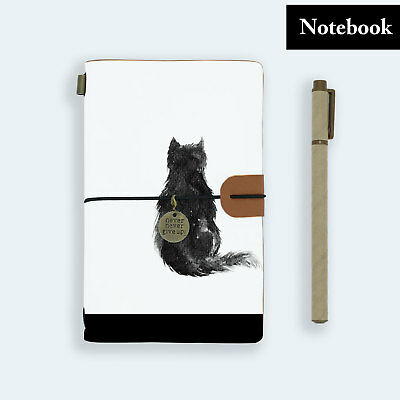 Hand Made Genuine Leather Journal Travel Diary Travelers Notebook Size Cat Kitty