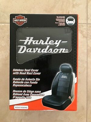 New! Harley Davidson Sideless Seat Cover With Head Rest Cover