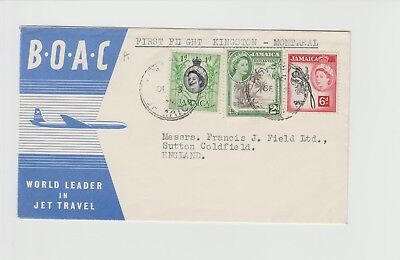Jamaica First Flown Cover Kingston - Montreal mixed franking BOAC Cover