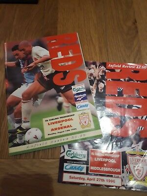 LIVERPOOL v ARSENAL & v MIDDLESBROUGH 1996/97 - PREMIERSHIP - FOOTBALL PROGRAMME