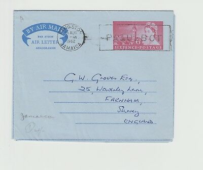 Jamaica Postmark on Aerogramme from SS ORSOVA, Miss Young F.A.P.