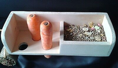 "Rabbit & Guinea pig ""food & treat station"" carrot holder,food trough,hay roller"