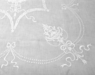 "Antique Embroidered Linen Tablecloth 96""x70"" Lavish Urns Swags Bows France FINE!"