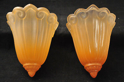 Pair Antique Art Deco Glass Slip Shades For Wall Sconces Or Chandeliers