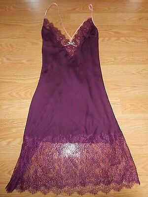 Victoria's Secret Size Small Dream Angels Purple With Lace Long Slip New!!!